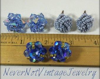 Vintage blue clip-on earring lot, blue auroras borealis and blue seed bead earrings