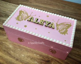 Personalised girls keepsake/jewellery box