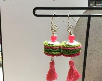Crochet copper wire and bead tassel earrings