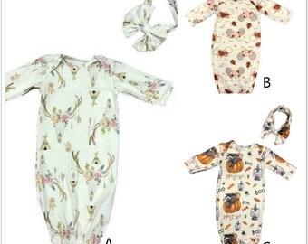 Newborn Girl Coming Home Outfit, Baby Girl Gown, Peach Coming Home Outfit, Baby Girl Take Home Outfit, headband ,Newborn Girl Layette