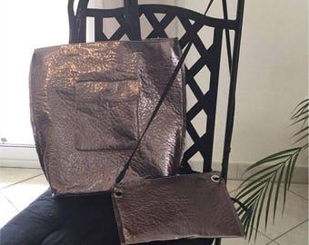 Bronze faux leather bag