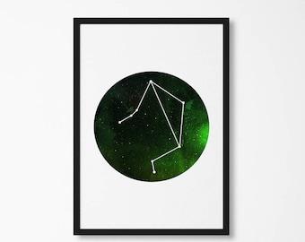 zodiac signs - libra art, zodiac stars sign, libra constellation, astrology design, stars print, zodiac poster art, birthday gift