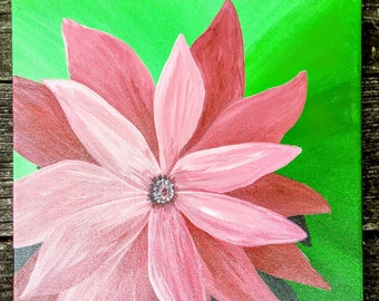 Tropical pink flower acrylic painting floral 12×12 home decor sign