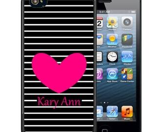 Personalized Rubber Case For iPhone X, 8, 8 plus, 7, 7 plus, 6s, 6s plus, 5, 5s, 5c, SE - Black Stripes Heart