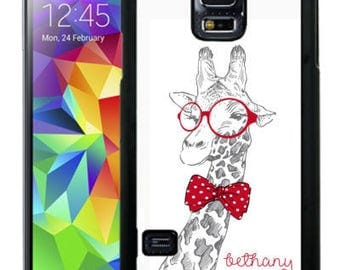 Personalize Rubber Case For Samsung Note 3, Note 4, Note 5, or Note 8- Cute Sketched Giraffe