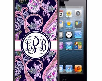 Monogrammed Rubber Case For iPhone X, 8, 8 plus, 7, 7 plus, 6s, 6s plus, 5, 5s, 5c, SE - Navy Pink Paisley
