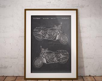 Harley Davidson Motorcycle Patent, Motor Cycle Patent Print, Harley Patent Art Print, Home Decor, Harley Motorbike Wall Art,Garage, IAP0151