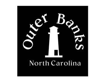 OBX Decal, Outer Banks, North Carolina, Glossy White Vinyl Decal, Car Decal, Laptop Decal, Window Decal