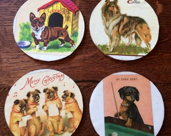 Coasters|drink coasters|dogs|puppies|corgi|dachschund|gift|new home gift|pugs|collies