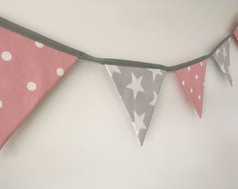 Grey and White Star and Pink Polka Dot Personalised Bunting-Name Bunting-Banner