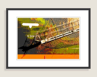 Cargo ship, cut, netting, Port of Lorient, Digital Art, altered photography, Maritime