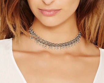 Bohemian bell choker necklace
