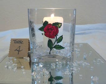 Unique Wedding Centrepiece Square Glass Vase Hand painted with flowers with Candle