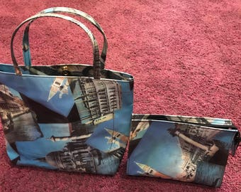 Unique Handmade Travel/Tote plus Matching Cosmetic Bag- Sold Separate or as pair