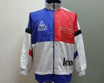 Sale Vintage 1990's Lecoq Sportif Multi Colour Sweater Spell Out Hip Hop Jacket