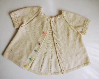 Kuzzy Design PDF Knitting Pattern,Ballerina Cardigan Knitting Pattern,Girls Hand Knit Cardigan Pdf Pattern,3-4 years Cardigan knittingpatern