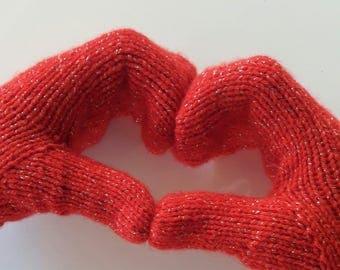 Valentines day, Knit mittens, Womens mittens, Valentines day gift, Mittens womens, Red mittens, Sparkly mittens, Warm mittens.
