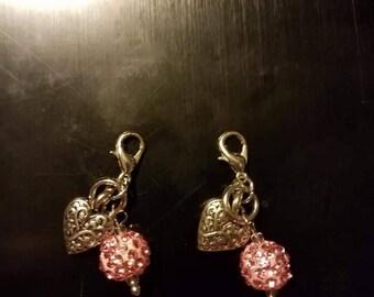 Pink Sparkel  Heart Dangles
