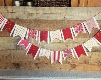 Valentine Day Felt Scrap Bunting - Felt Banner Double Sided - 3 feet - Fabric scrap Valentine Garland Banner Bunting - WHITE background