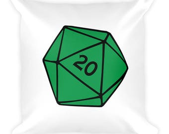 Green D20 Square Pillow