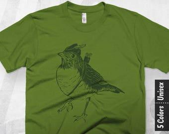 Bird T shirt, Gift for Bird Lover, Robin Hood Illustration Graphic Tee, Funny T-shirt Design, Trendy Graphic, Men, Women, American Apparel