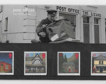 Vintage postage stamps, 1997, Post Offices, stamps presentation pack, Royal Mail, mint stamps