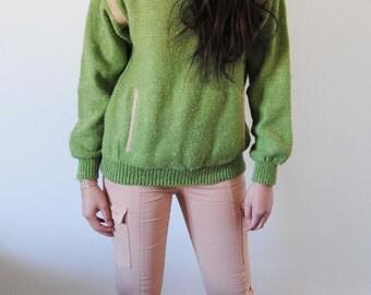 Green and pink sweater powder vintage Kangaroo Pocket
