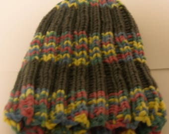 Rainbow and Grey Striped Knit Hat