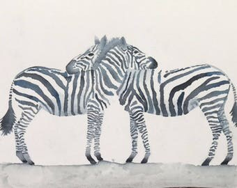 Illustration watercolor Original Zebra