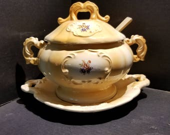 Vintage Ceramic Soup Tureen with Underplate