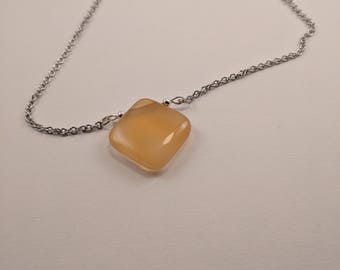 Square Stone Necklace, Yellow, on Stainless Steel Chain