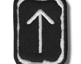 Tiwaz rune - embroidered patch, 4x5 cm