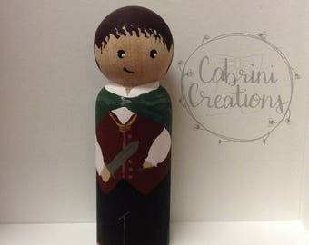 Frodo Peg Doll Hobbit Peg Doll Lord of the Rings Peg Doll