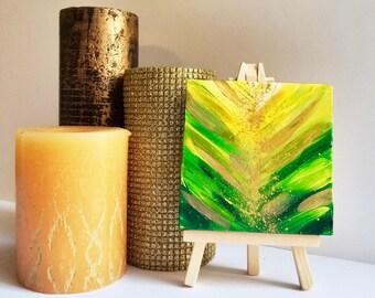 Small green painting, mini Painting, mini art, tiny painting, tiny art, small canvas art, mini canvas art, 4x4 art, small painting, gold