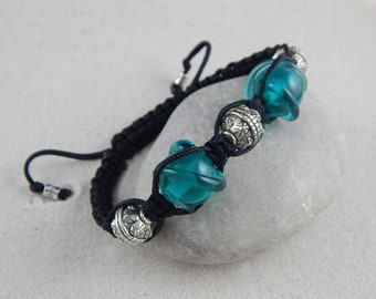 Braided bracelet * Solstis * 5 beads - blue-green pattern