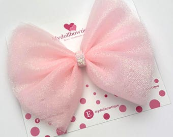 Pink bows, glitter bows, hair accessories, tulle bows