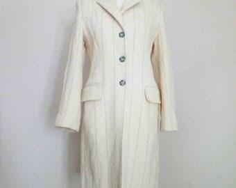 Vintage 70s woman beige, gray coat // excellent condition // UK10,12 IT40, 42