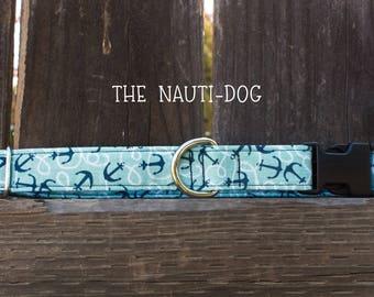 The Nauti-Dog dog collar, nautical dog collar, nautical, sea, ocean dog collar, anchor dog collar, boating, anchors away, boat rope