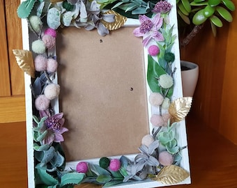 Valentine gift / home decor -- handmade white floral frame -- Romantic -- Rustic --Botanical -- unique gift - bedroom, nursery