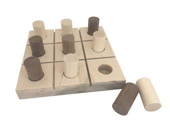 Natural Wood Tic Tac Toe Board Game