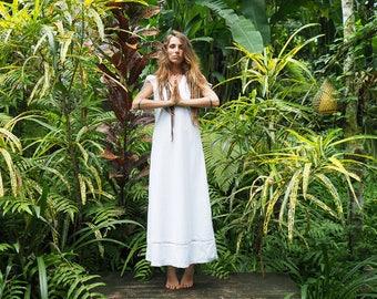 Maluku - size 8-12 organic cotton lace flowing bohemian gypsy long dress