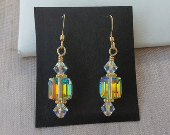 14k Gold Fill Crystal Cube Earring