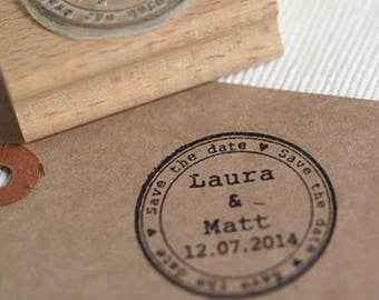 Round Save The Date Personalised Custom Rubber Stamp, Wedding Stamp