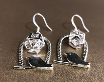 Geometric floating bird cage with birds earrings