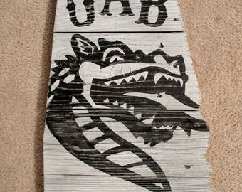 UAB white, state shaped wooden plaque