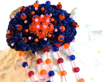 Brooch embroidered neon jellyfish