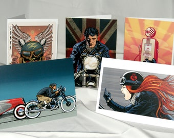 Motorcycle Art Biker Greetings Cards by Brett Breckon A4 folded to A5