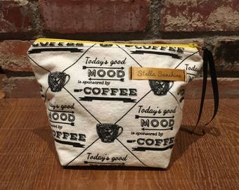 good mood coffee black and white handmade flannel makeup bag, cosmetic pouch, toiletry bag
