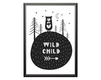 Wild Child, Scandinavian print, Nursery Scandinavian, Black and white, monochrome nursery, playroom print, kids poster, kids room art