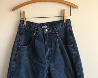 "Vintage Dark Blue Highwaisted Pleated Denim Jeans, Britainia Jeans, 28"" waist"